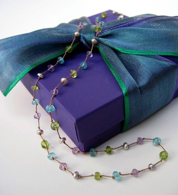 Sweetheart special amethyst, peridot and apatite necklace on silk cord.