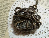 Steampunk Large Octopus Pocket Watch Necklace