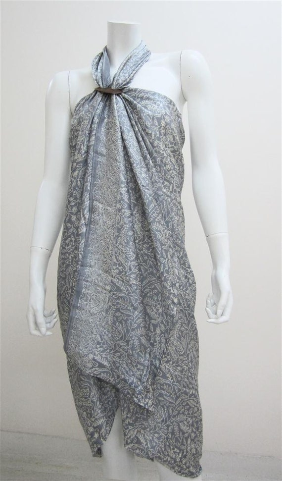 Silk Batik Sarong - Snow Covered Leaves on Grey