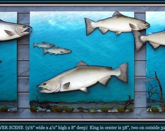KING SALMON wall decor, fishing decor, salmon wall hangings, fishing wall decor, cabin wall decor, fish wall hangings, salmon wall art