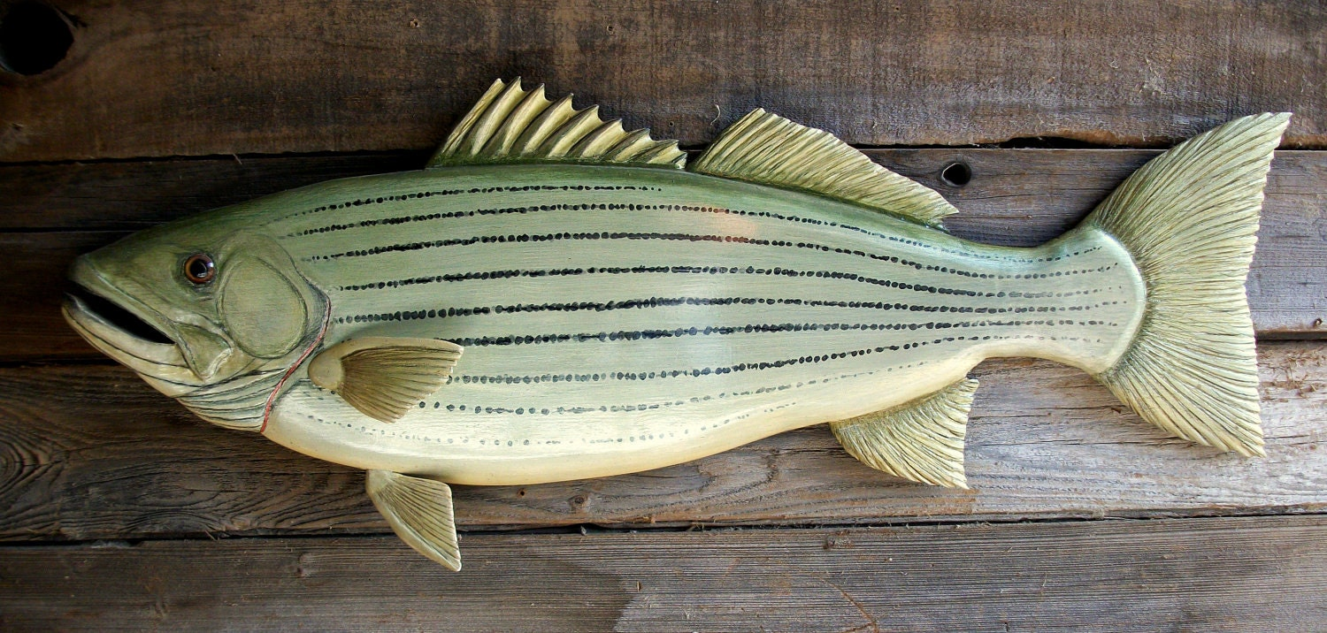Striped bass fish wood carving wall mount folk art 35 inch for Wooden fish wall decor