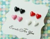 Set of 4 Mini Heart Earrings