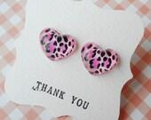 Tiger skin heart Earring - Pink