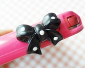 dot bow earphone plug - Black