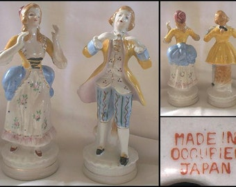Occupied Japan Victorian Couple Figurines