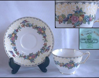 Henry Birks Crown Staffordshire 1920 Tea Cup & Saucer