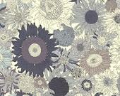 CLEARANCE 50% off! Small Susanna sunflower Liberty of London, grey monochrome sunflower Liberty print