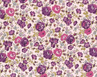 Fat eighth Felicite Liberty of London pink and purple rose trail traditional floral Liberty print