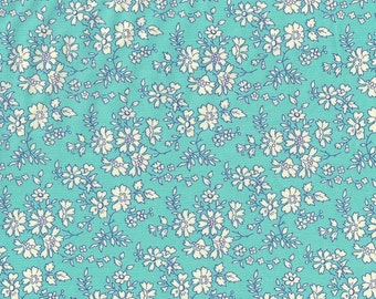Fat eighth Capel T, bright aqua turquoise classic floral Liberty print,  Liberty of London cotton tana lawn