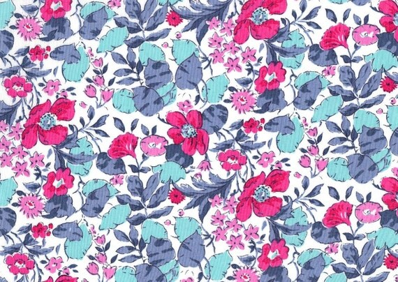 Poppy and Honesty M 1930s Liberty of London Fat Eighth, pink and aqua floral Liberty print