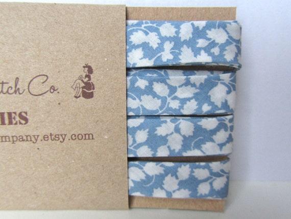 Bias binding, 3 yds Liberty of London 'Glenjade R' double fold sky blue Liberty print bias tape