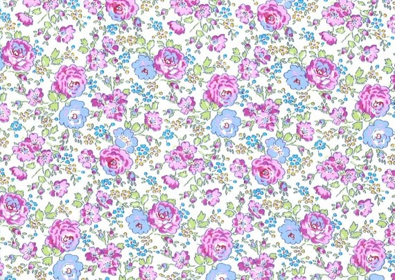 Felicite C Liberty of London pink and purple rose trail traditional floral Liberty print