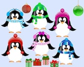 ETSY - Cute Christmas Penguin Clip Art for scrapbooking, card making, Invites, photo cards (CA20)
