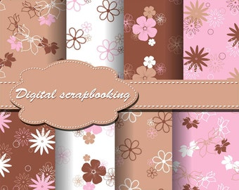 Cute Flower Beige, Pink and Brown Digital Papers for scrapbooking, card making, Invites, photo cards (P20)