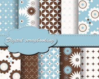 Cute Blue, White and Brown Flower Digital Papers for scrapbooking, card making, Invites, photo cards (P76)