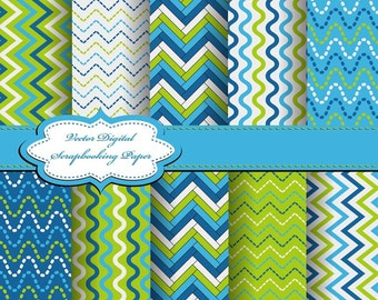 Cute Blue and Green Digital Papers for scrapbooking, card making, Invites, photo cards (P59)