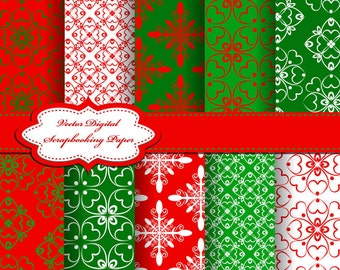 Cute Christmas Digital Papers for scrapbooking, card making, Invites, photo cards (P58)