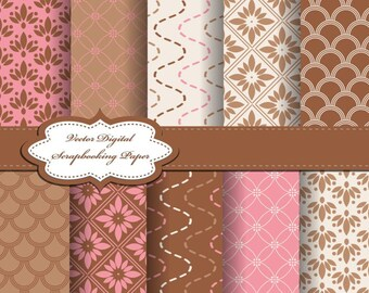 Pink Flower Digital Papers for scrapbooking, card making, Invites, photo cards (P31)