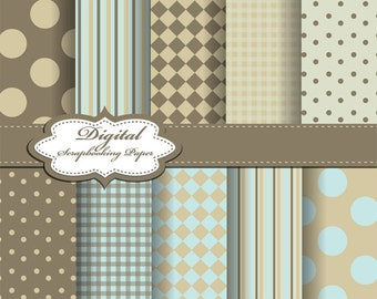 Cute Blue and Brown Digital Papers for scrapbooking, card making, Invites, photo cards (P80)
