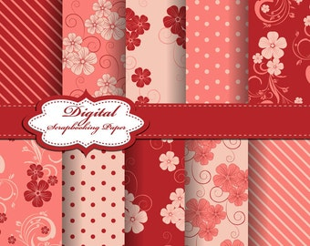 Cute Digital Papers for scrapbooking, card making, Invites, photo cards (P90)