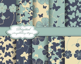 Cute Green and Yellow Flower and Buttrfly Digital Papers for scrapbooking, card making, Invites, photo cards (P111)