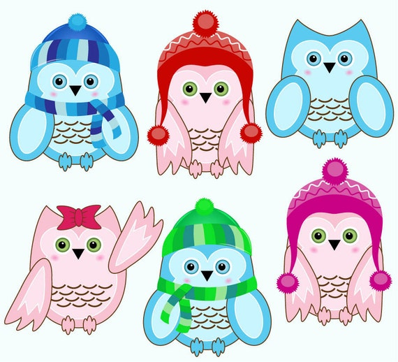 Items Similar To Sale Winter Owls Clip Art For