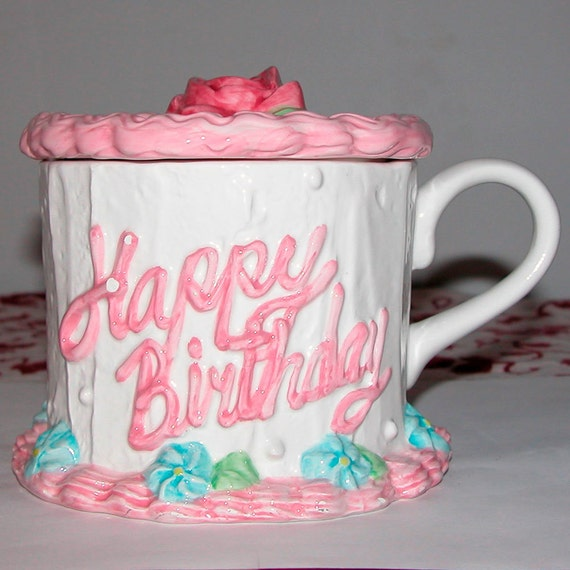 Happy Birthday Cake Container With Lid Ceramic Mug