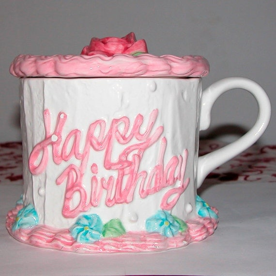 Happy Birthday Cake Container With Lid Ceramic By