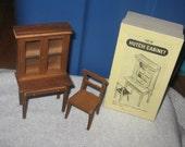 vintage dollhouse furniture hutch cabinet/desk wood  in box..excellent