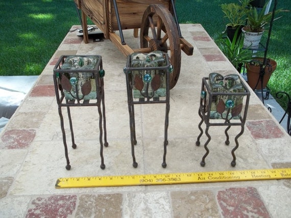 Reserve for Bernedette. Candle Holder Trio Metal and Glass Upcycled