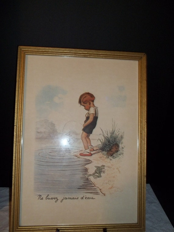 Vintage Print Ne buvez jamais d'eau by George Redon which means Never drink the water.