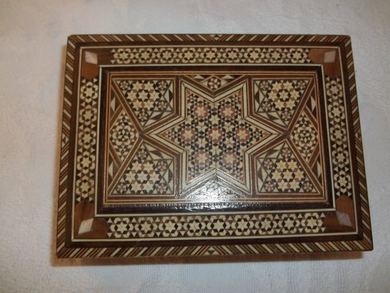 Gorgeous Wooden Inlaid Box Star of David Design With Mother of Pearl