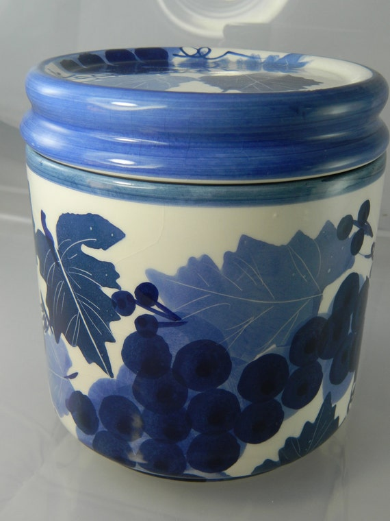 Vintage Canister Blue and White Pottery Canister by Designpac