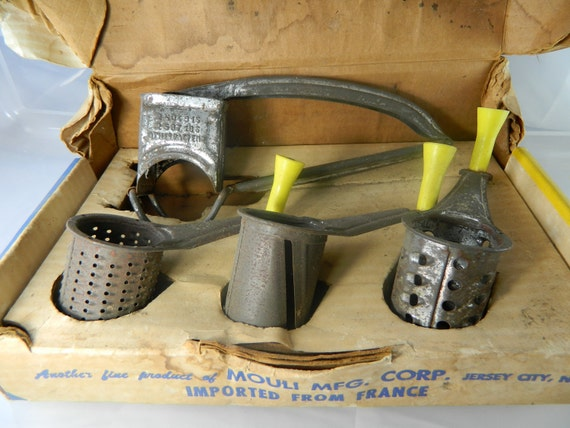 Vintage Hand Cranked triple Grater with yellow handles by Mouli