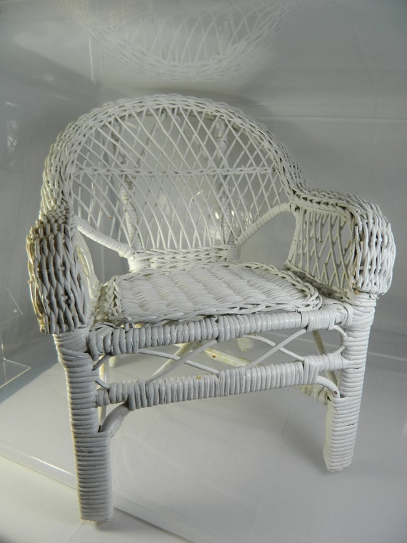 Vintage Doll Chair White Wicker Use In Your By