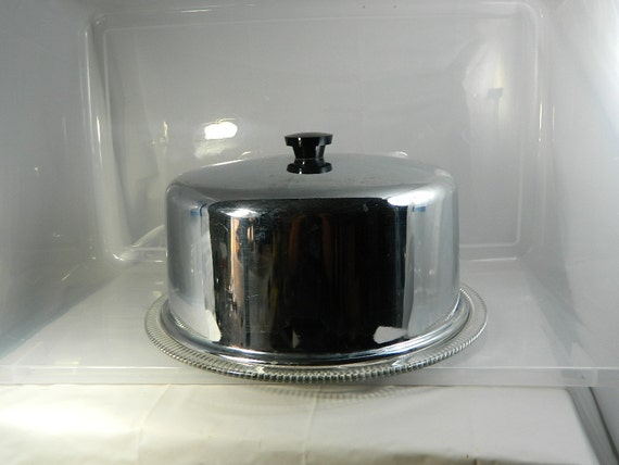 Vintage Cake Plate Chrome Dome