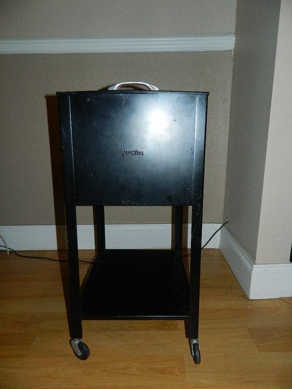 Vintage Metal Rolling File Box Tub File Cabinet