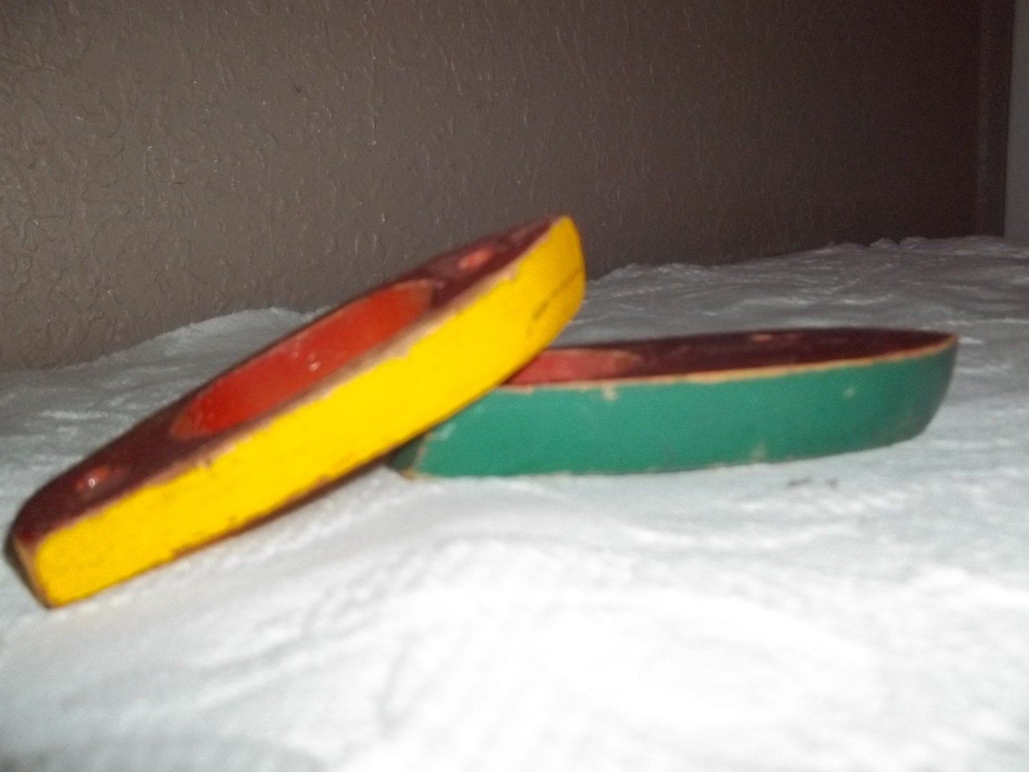 Vintage Wooden Toy Boats Yellow And Green With Red