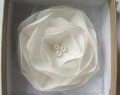 Pearl White/ Light Ivory Bridal Hair Fascinator with pearls