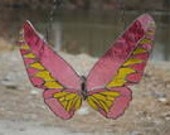 Pink and Yellow Stained Glass Birdwing Butterfly   Window Hanging   Suncatcher   Window Art