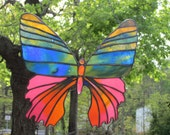 Spring Color Blue Green Pink and Gold Madagascan Sunset Moth Stained Glass Window Hanging Suncatcher Window Art Summer Decor Natural World