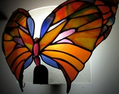 Spectacular Blue, Gold, Cranberry and Orange Stained Glass Emperor Butterfly Wall Sconce Home Decor Lighting