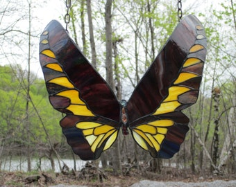 Rusty Red Gold Stained Glass Bird Wing Butterfly Suncatcher Windowhanging Window Art