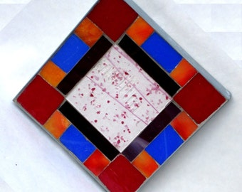 Red White Blue Orange and Black Geometric Stained Glass Table Mosaic Trivet