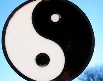White and Black Yin-Yang Symbol: Ancient Symbol of Balance Stained Glass Window hanging Suncatcher