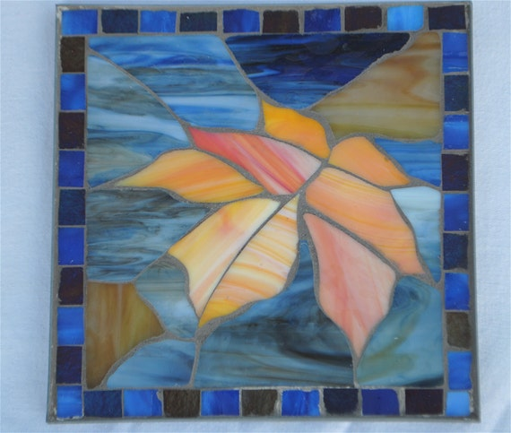 Peach Blue Purple and Orange Stained Glass Maple Leaf Table Mosaic Trivet Thanksgiving Table Decor