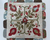 Quilted Table Topper in Soft Romantic Colors Hand Appliqued