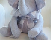 Ellie - Lavender Fabric Stuffed Elephant with Gingham Ears