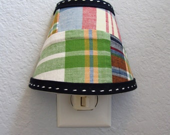 MADE to ORDER -  Madras Fabric Night Light made with fabric from the Pottery Barn Kids Mardras Bedding Collection in Navy