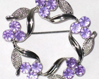PuRPLe RHINESTONE Vintage 80's new Brooch MeTaL FLOWER